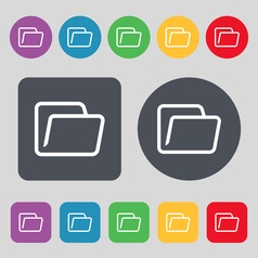Folder icon sign A set of 12 colored buttons Flat vector image vector image