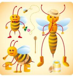 happy bees vector image vector image