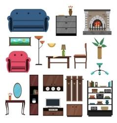 Interior Icons Flat Set vector image vector image
