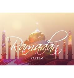 Ramadan KAREEM watercolor mosque vector image vector image