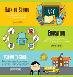 set of three horizontal school banners with vector image vector image