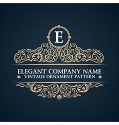 Calligraphic ornate logo emblem elegant decor vector