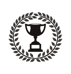 monochrome trophy cup between olive crown vector image vector image
