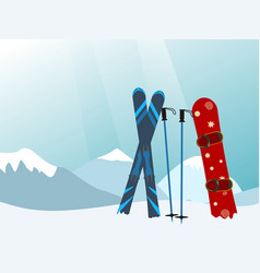 Snowboard and ski in the ski mountain resort vector