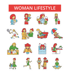 woman lifestyle thin line icons vector image vector image
