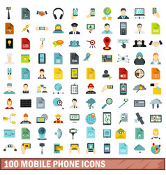 100 mobile phone icons set flat style vector image