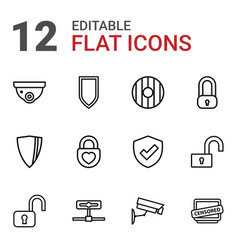 12 privacy icons vector image