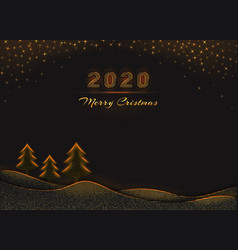 2020 merry christmas and happy new year text vector