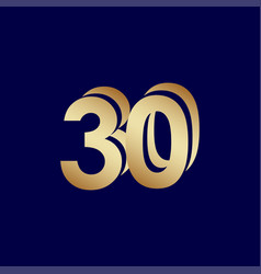 30 years anniversary celebration blue gold vector
