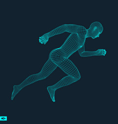 3d running man design for sport business science vector