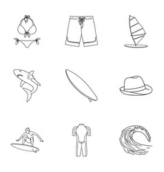 A collection of pictures on the theme of the beach vector