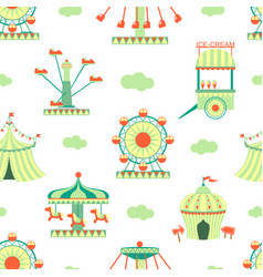 Amusement park seamless pattern carnival funfair vector