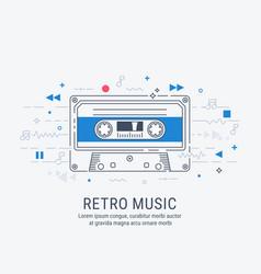 audio cassette modern line art style vector image