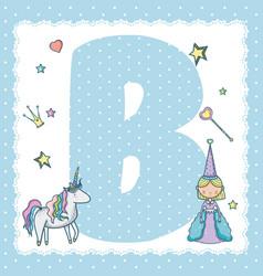 b alphabet letter for kids vector image