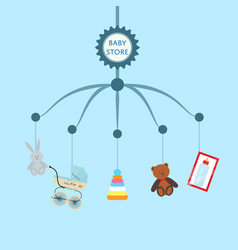 Baby store banner with child toys vector