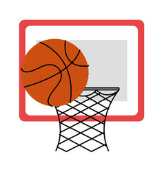 basketball balloon and basket vector image