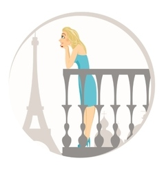 Beautiful blonde woman in paris vector