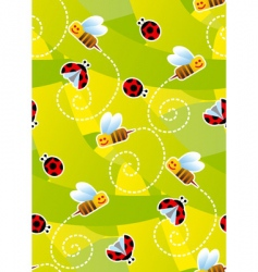 bees and ladybugs vector image