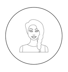 black hair woman icon in outline style isolated on vector image