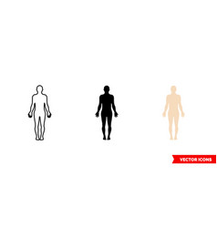 body symbol icon 3 types color black and white vector image