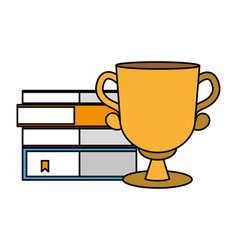 books stacked and trophy vector image