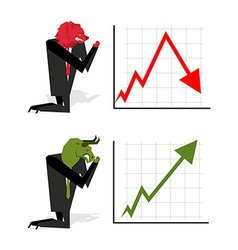 Bull and Bear pray to bet on stock exchangeGreen vector