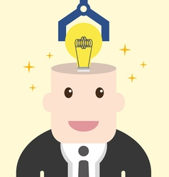 Businessman get light bulb in head with idea vector