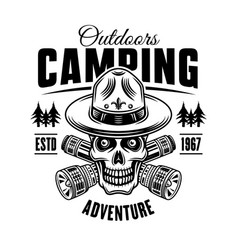 camping and outdoors black and white emblem badge vector image