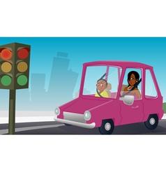 car passengers stopsign vector image
