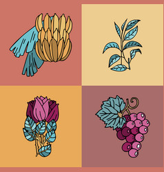 Cards with bananas tea leaves roses and grapes vector