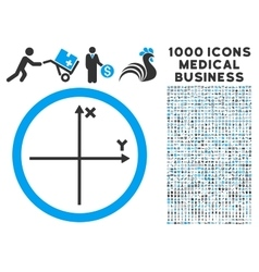 Cartesian Axis Icon with 1000 Medical Business vector