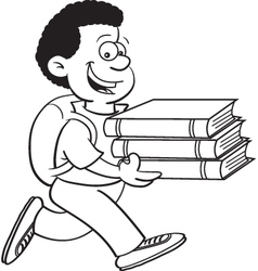 Cartoon of a boy carrying books vector image