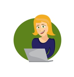 cartoon of young woman with laptop vector image