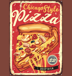 chicago style deep dish pizza vector image