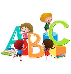 children with english alphabets blocks vector image