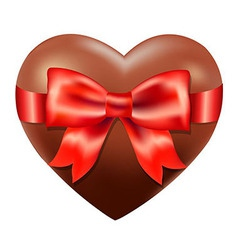 Chocolate Heart With Red Bow vector image vector image
