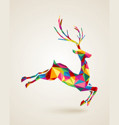 Christmas deer rainbow colors vector image