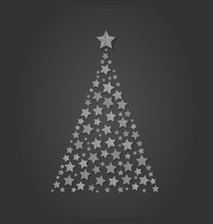 christmas tree of silver stars gretting xm vector image
