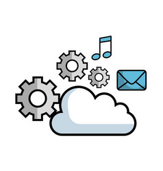 Cloud and objects design vector