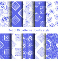Collection 6 seamless pattern doodle style design vector