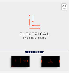 Connect or electrical l logo design icon element vector