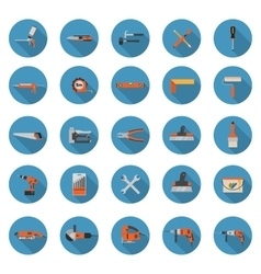 Construction tools icons set - Flat style vector image