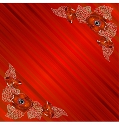 Corner frame with poppies on red background with vector image