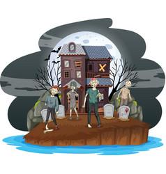 creepy zombies at graveyard vector image