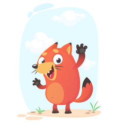 Cute funny fox mascot amusing and excited vector