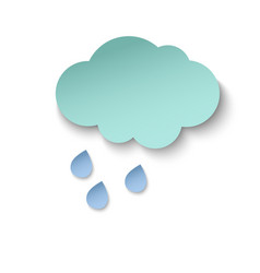Cyan paper cut cloud and rain drops 3d paper art vector