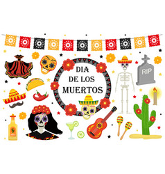 Day of the dead mexican holiday icons flat style vector
