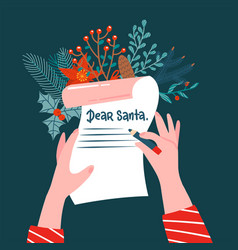 dear santa letter top voew scane girl writing vector image
