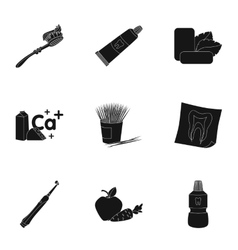 Dental care set icons in black style Big vector
