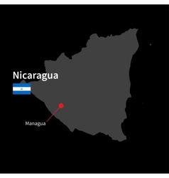 Detailed map of Nicaragua and capital city Managua vector